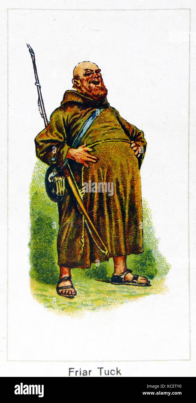 London Cigarette Card Company card 1924 depicting: Friar Tuck is a common character in modern Robin Hood stories, - Stock Image