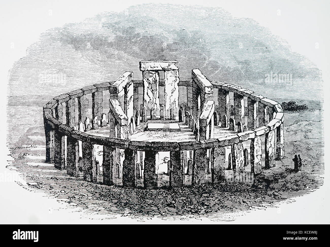 Impression of Stonehenge as it would be if restored. Dated 19th Century - Stock Image