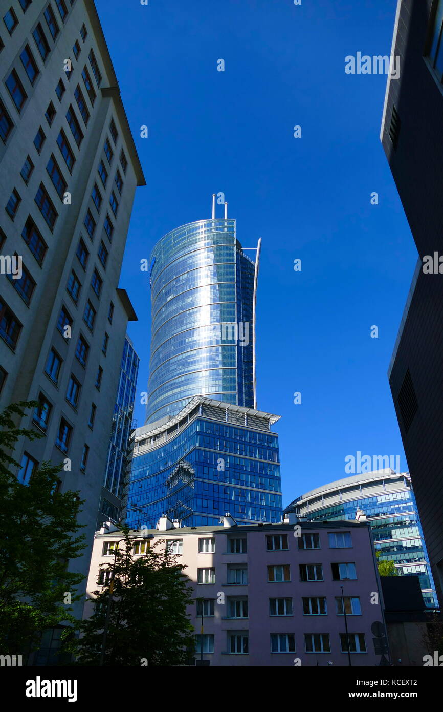 Modern skyscrapers in Warsaw, Poland, marking the country's transition into a free market post-communist economic - Stock Image