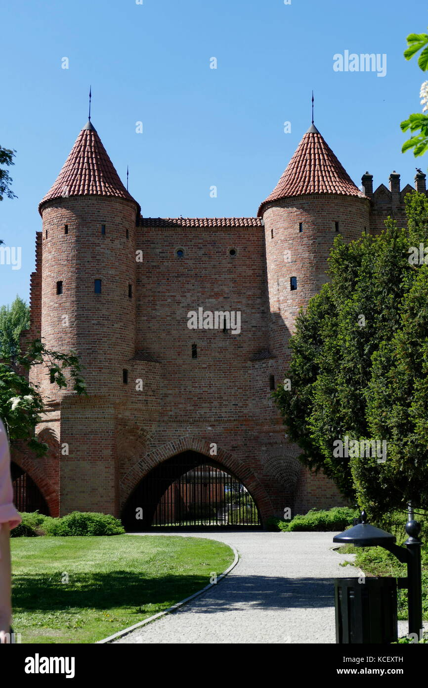 Photograph of the Warsaw Barbican (Barbakan Warszawski) is a barbican (semi-circular fortified outpost) in Warsaw, - Stock Image