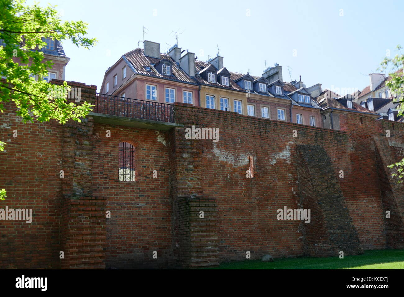 Photograph of the city walls in Warsaw, Poland, and one of few remaining relics of the complex network of historic - Stock Image
