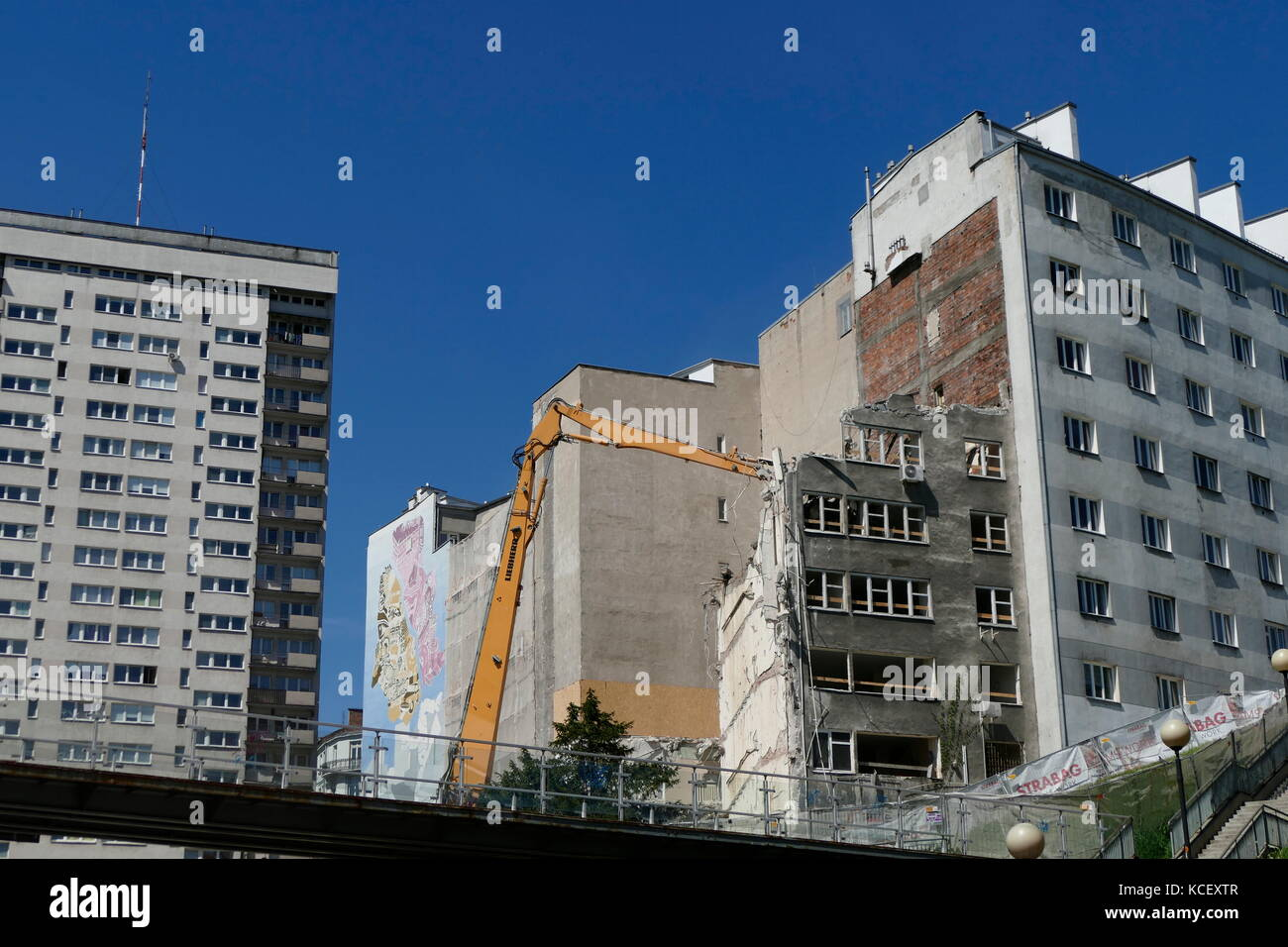 Demolition of communist era buildings and apartments in Warsaw, Poland. Dated 21st Century - Stock Image