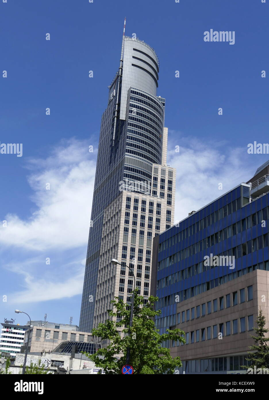 Photograph of the Warsaw Trade Tower (WTT) a skyscraper in Warsaw. It was completed in 1999. Modern skyscrapers - Stock Image
