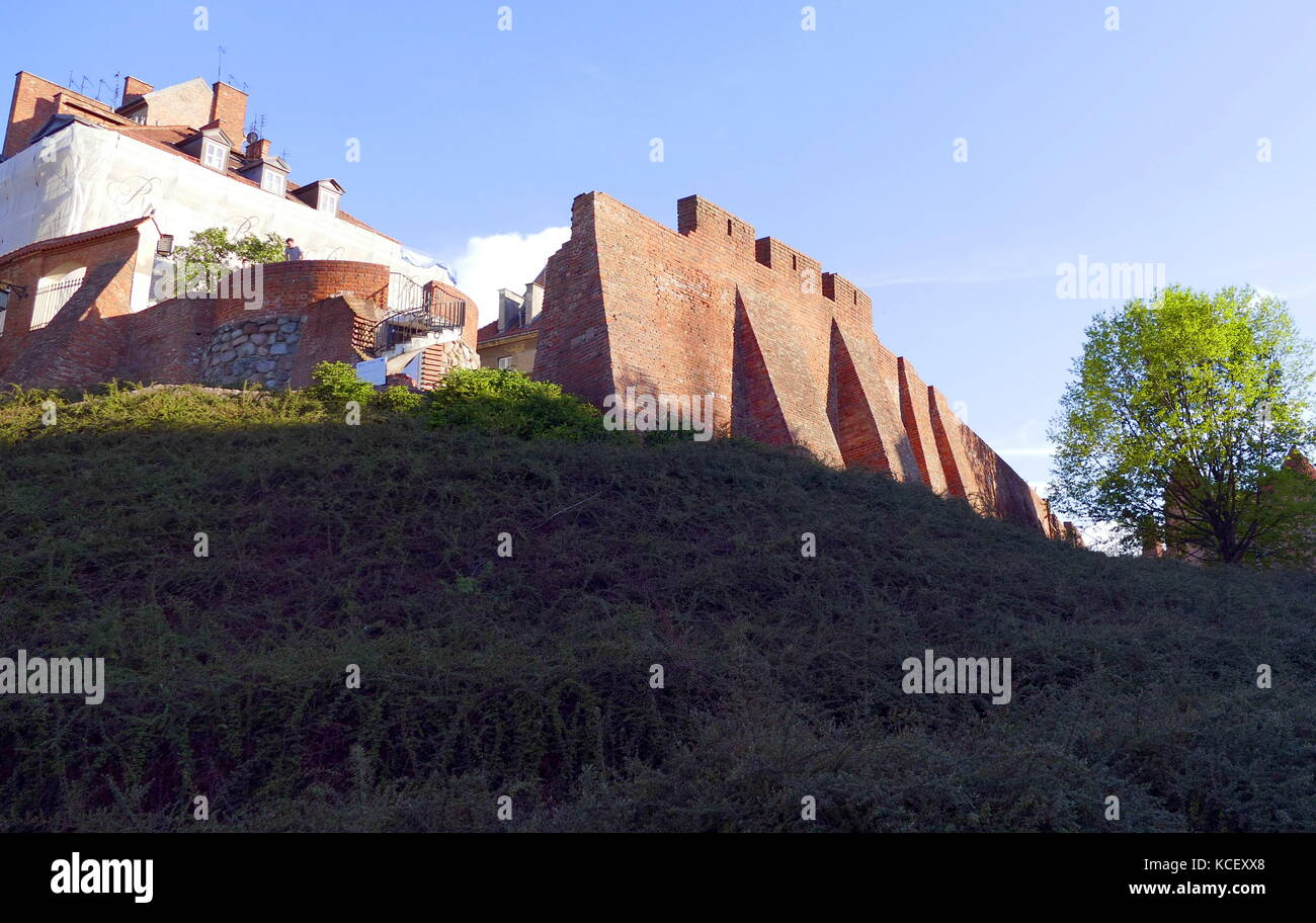 Photograph of the re-built medieval city walls of Warsaw, destroyed by the Nazi Germans following the Invasion of - Stock Image