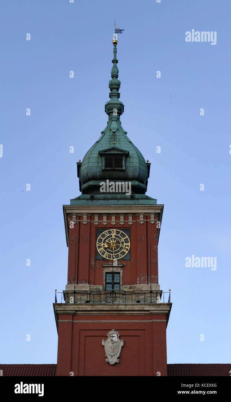 Photograph of the Royal Castle in Warsaw (Zamek Krolewski w Warszawie), formerly served as the official residence - Stock Image