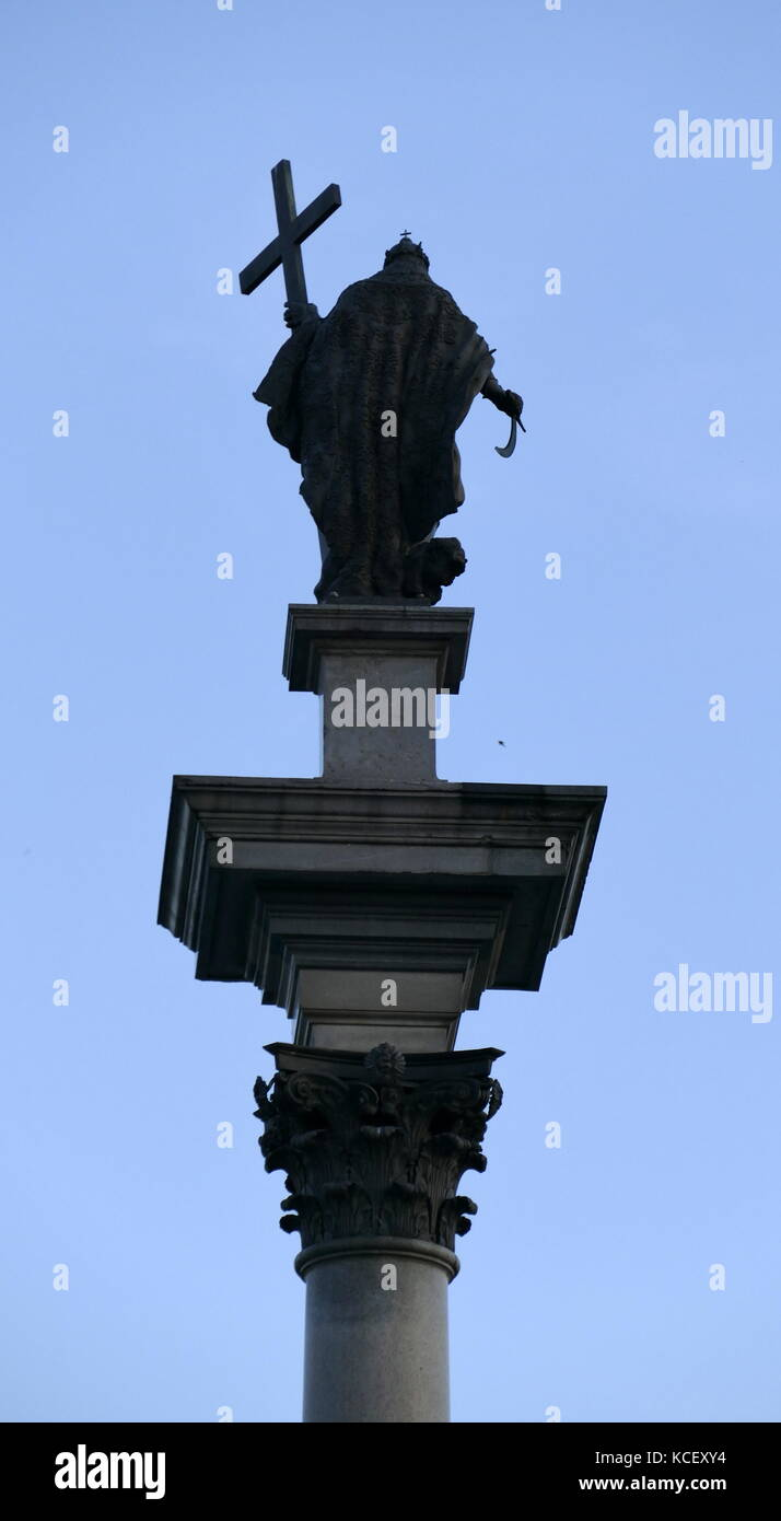 Photograph of Sigismund's Column (Kolumna Zygmunta), originally erected in 1644, is located in Castle Square, - Stock Image