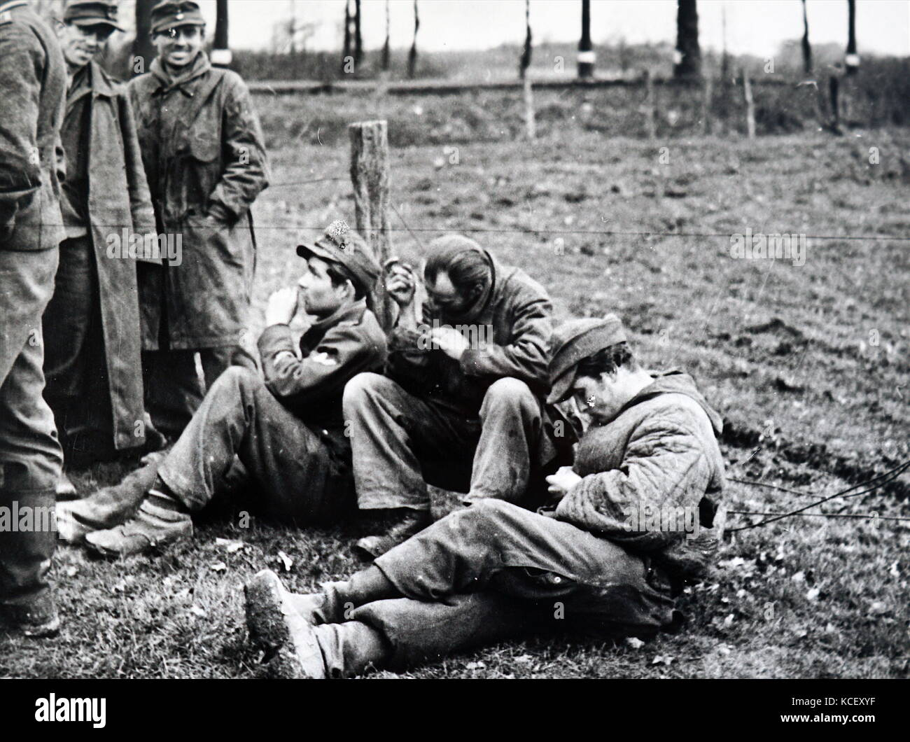 Photograph of German prisoners of war in France 1944 during the Second World War. Dated 20th Century - Stock Image