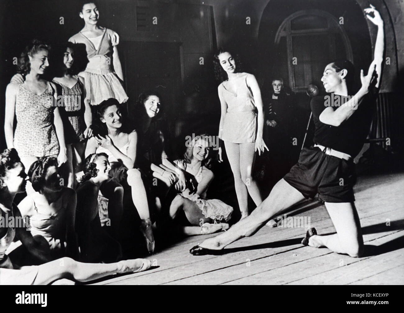 Photograph of Serge Lifar (1905 – 1986,) Master of the Paris Ballet, during practice during World War Two. Lifar - Stock Image