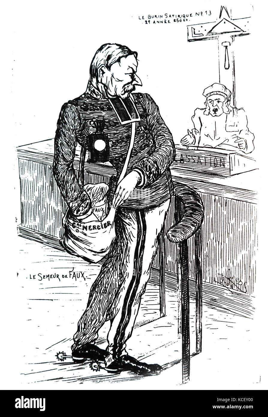 Cartoon depicting Auguste Mercier (1833 – 1921) . Mercier was a French general and Minister of War at the time of - Stock Image