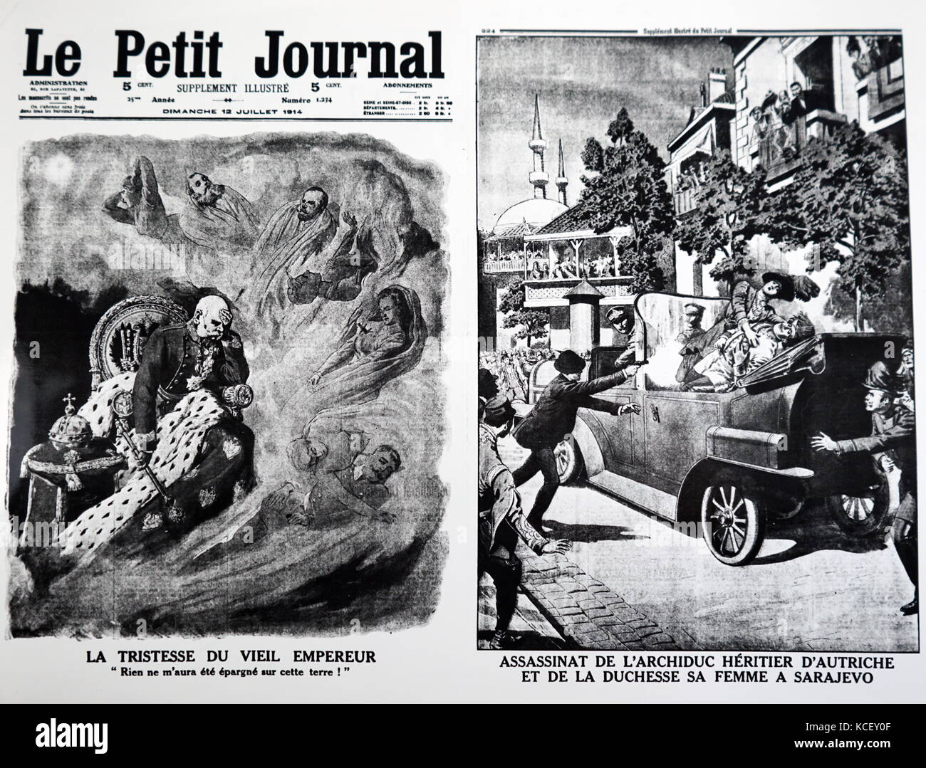Two cartoons depict the grief of Franz Josef of Austria and the assassination of his nephew Franz Ferdinand, Archduke - Stock Image