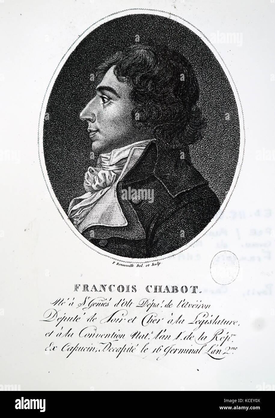 Portrait of François Chabot (1756-1794) a French politician. Dated 18th Century - Stock Image