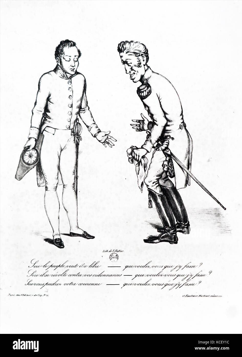 Illustration depicting Jules, 1st Duke of Polignac (1746-1817) a French nobleman, and King Charles X of France (1757 - Stock Image