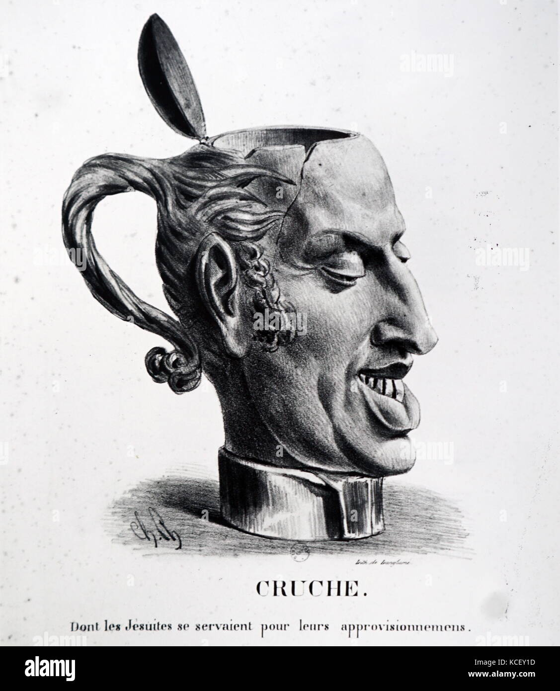 Illustration depicting King Charles X of France (1757-1837) as a jug. Dated 19th Century - Stock Image