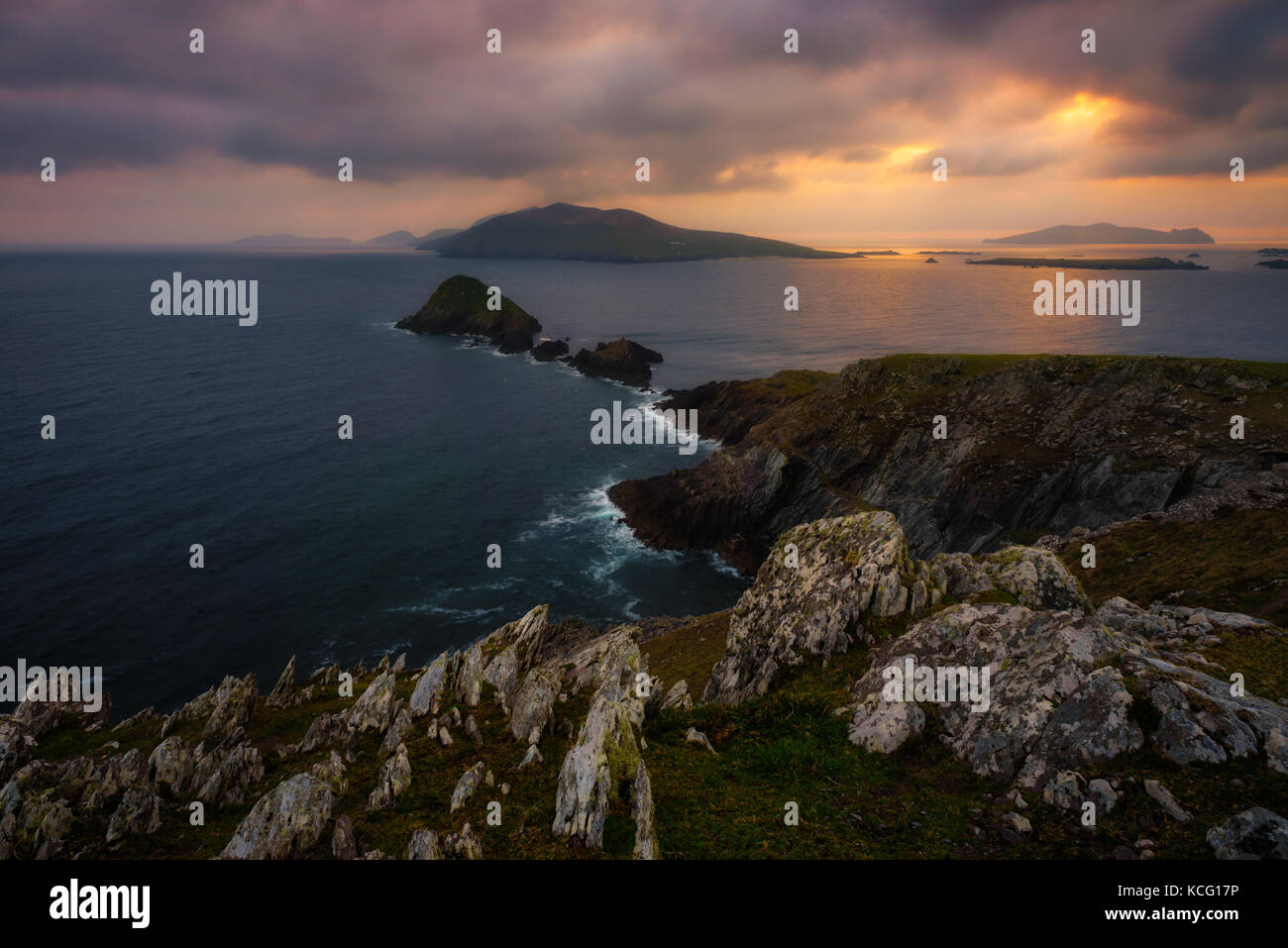 Sunset at Slea Head in Co. Kerry - Ireland - Stock Image