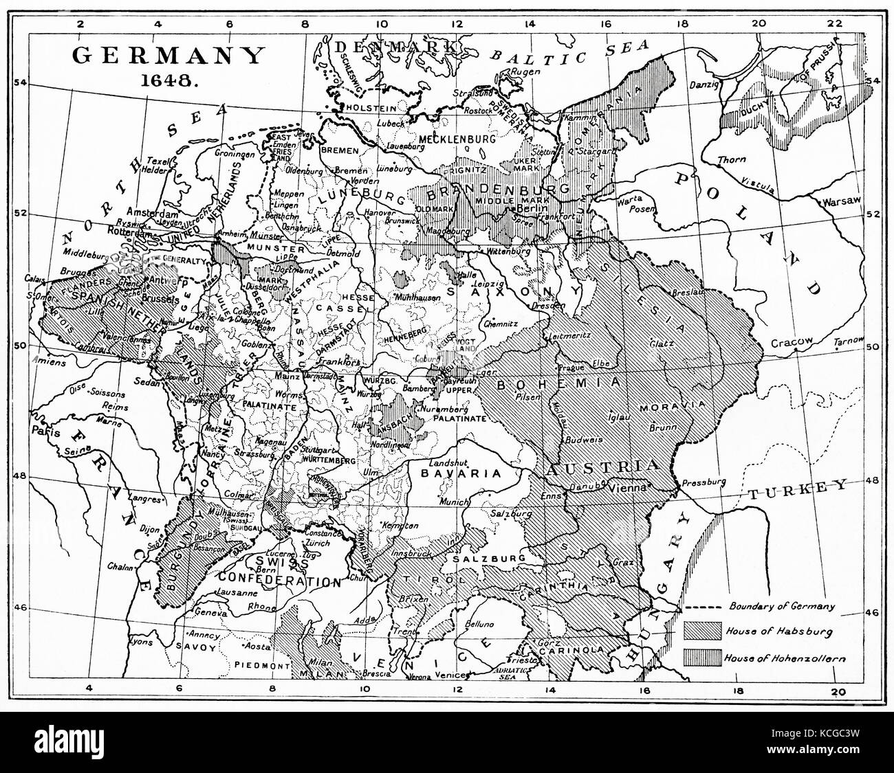 Map of Germany in 1648 after the Peace of Westphalia.  From Hutchinson's History of the Nations, published 1915. - Stock Image
