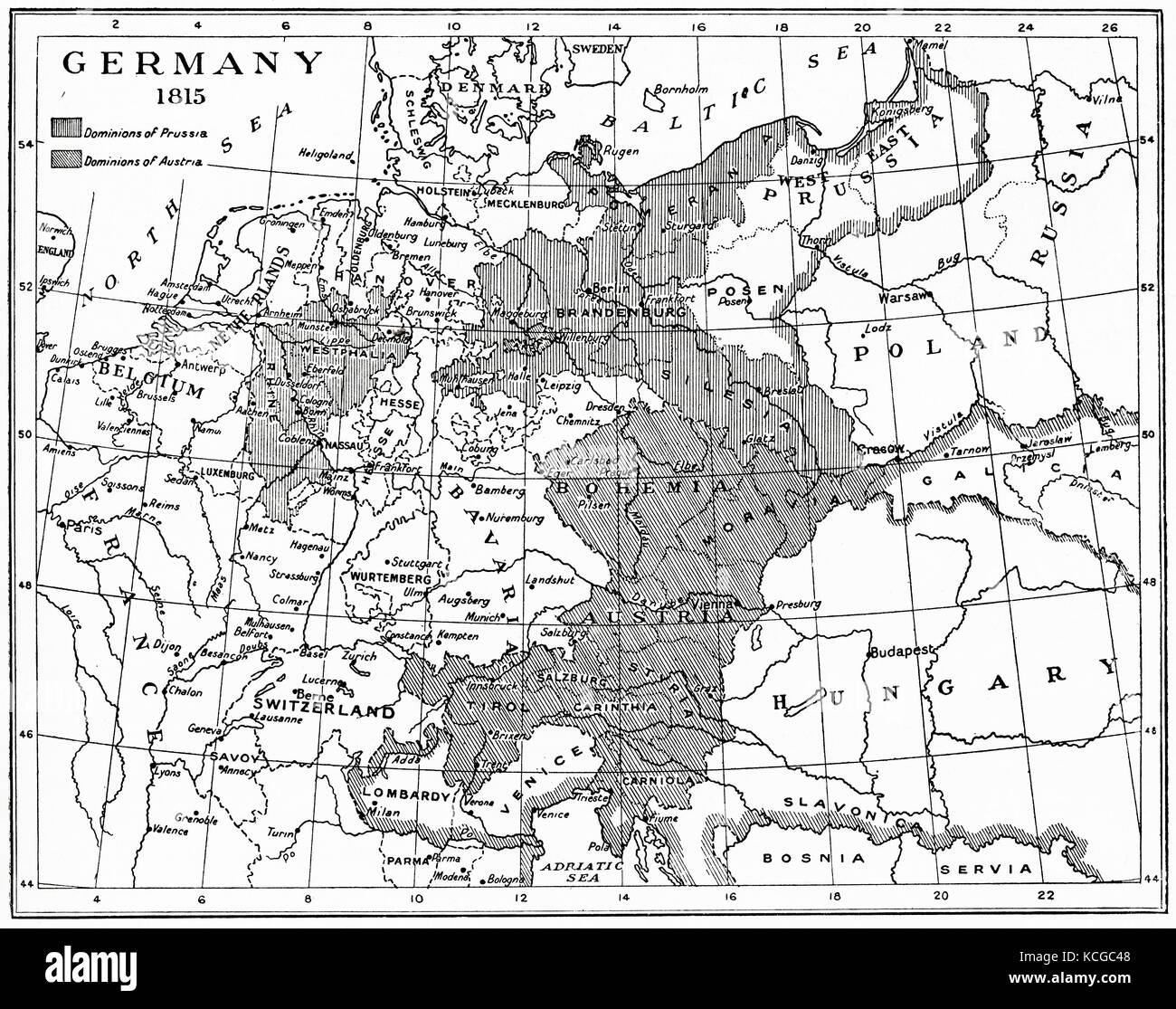 Map of Germany in 1815 after the Congress of Vienna.  From Hutchinson's History of the Nations, published 1915. - Stock Image