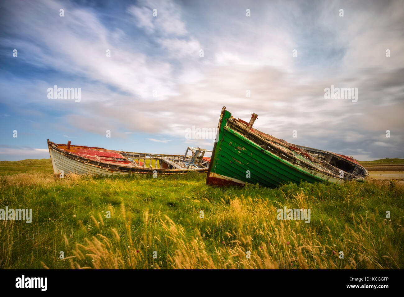 Boat wrecks in Co. Donegal - Ireland - Stock Image