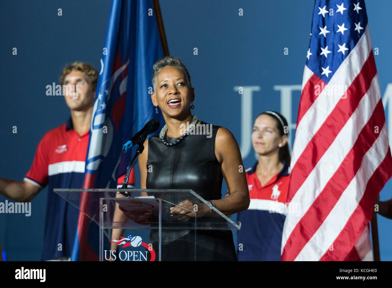 Katrina Adams CEO of USTA at the 2017 US Open Tennis Championships. - Stock Image
