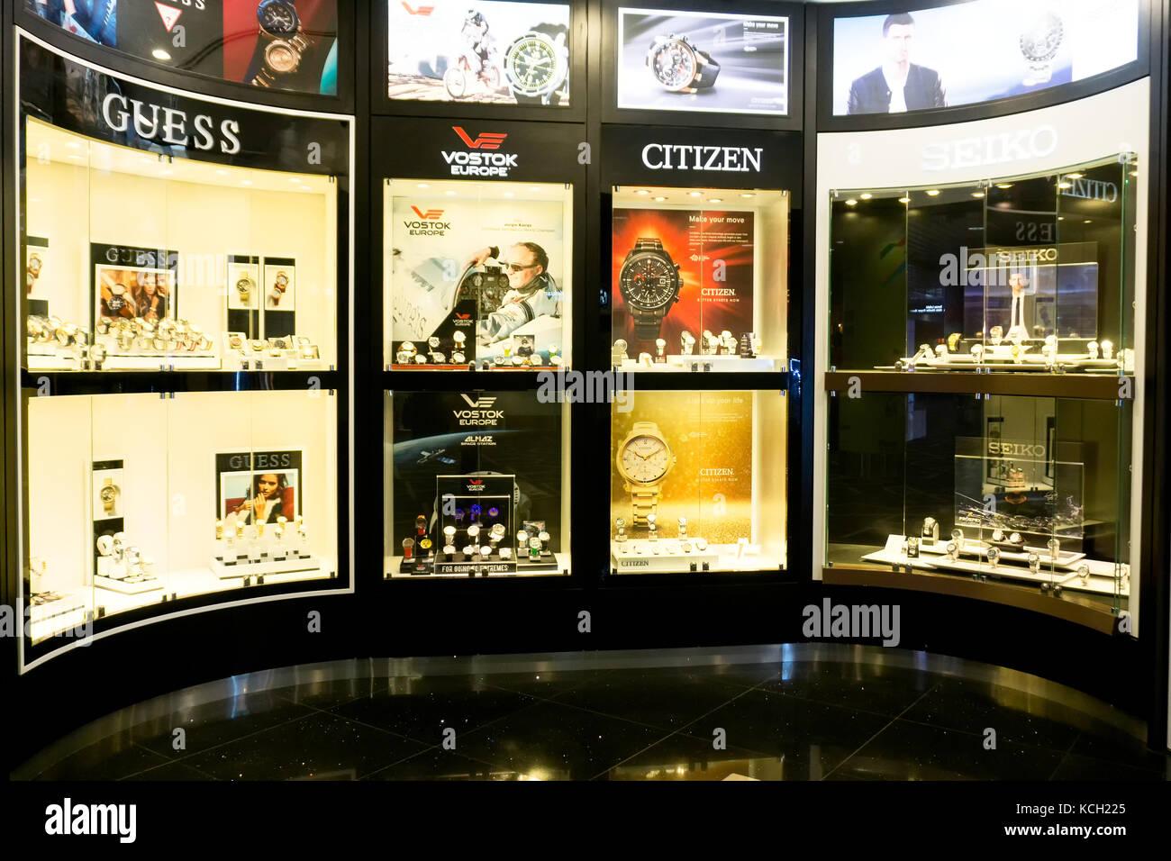 Kuala Lumpur, Malaysia - September 06, 2017: Varied brand of watches at Kuala Lumpur International Airport. - Stock Image