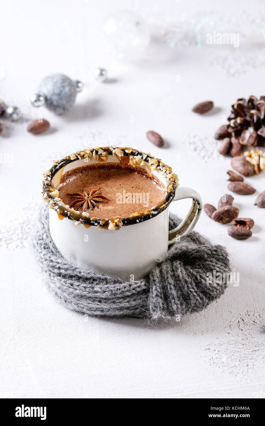 Mug of hot chocolate - Stock Image