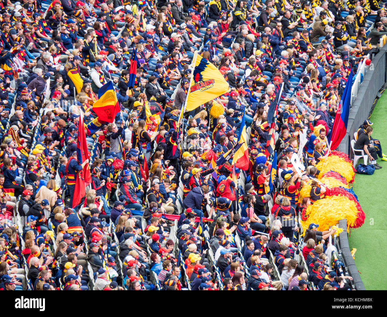 The Adelaide Crows cheer squad cheering at the 2017 Grand Final at the MCG, Melbourne Victoria Australia. - Stock Image