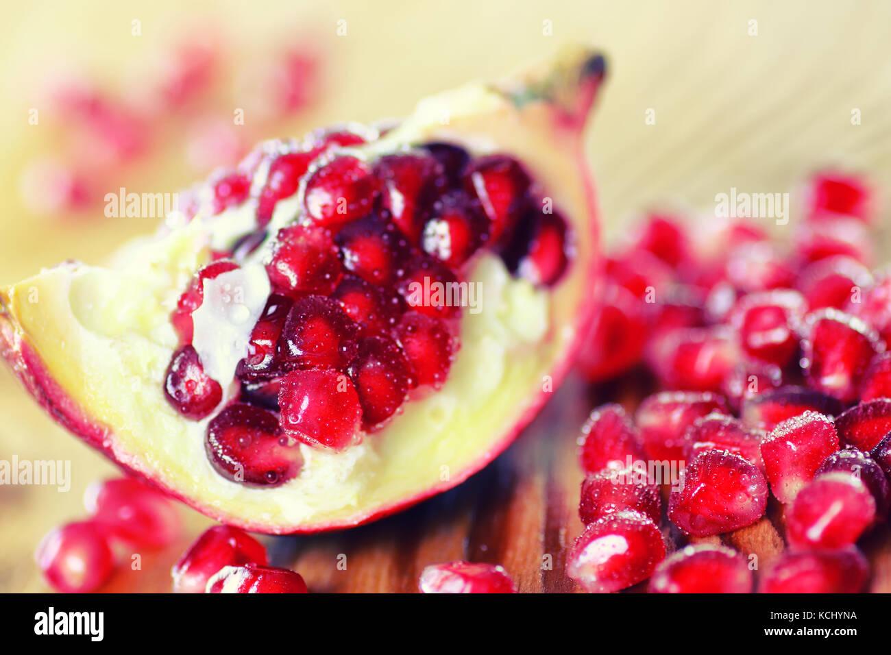 fruit fresh red pomegranate - Stock Image