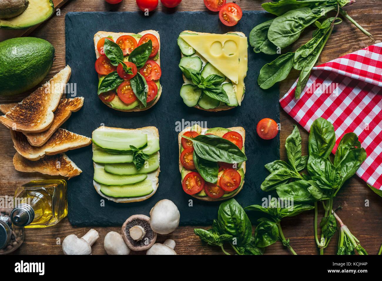 tasty toasts for breakfast - Stock Image