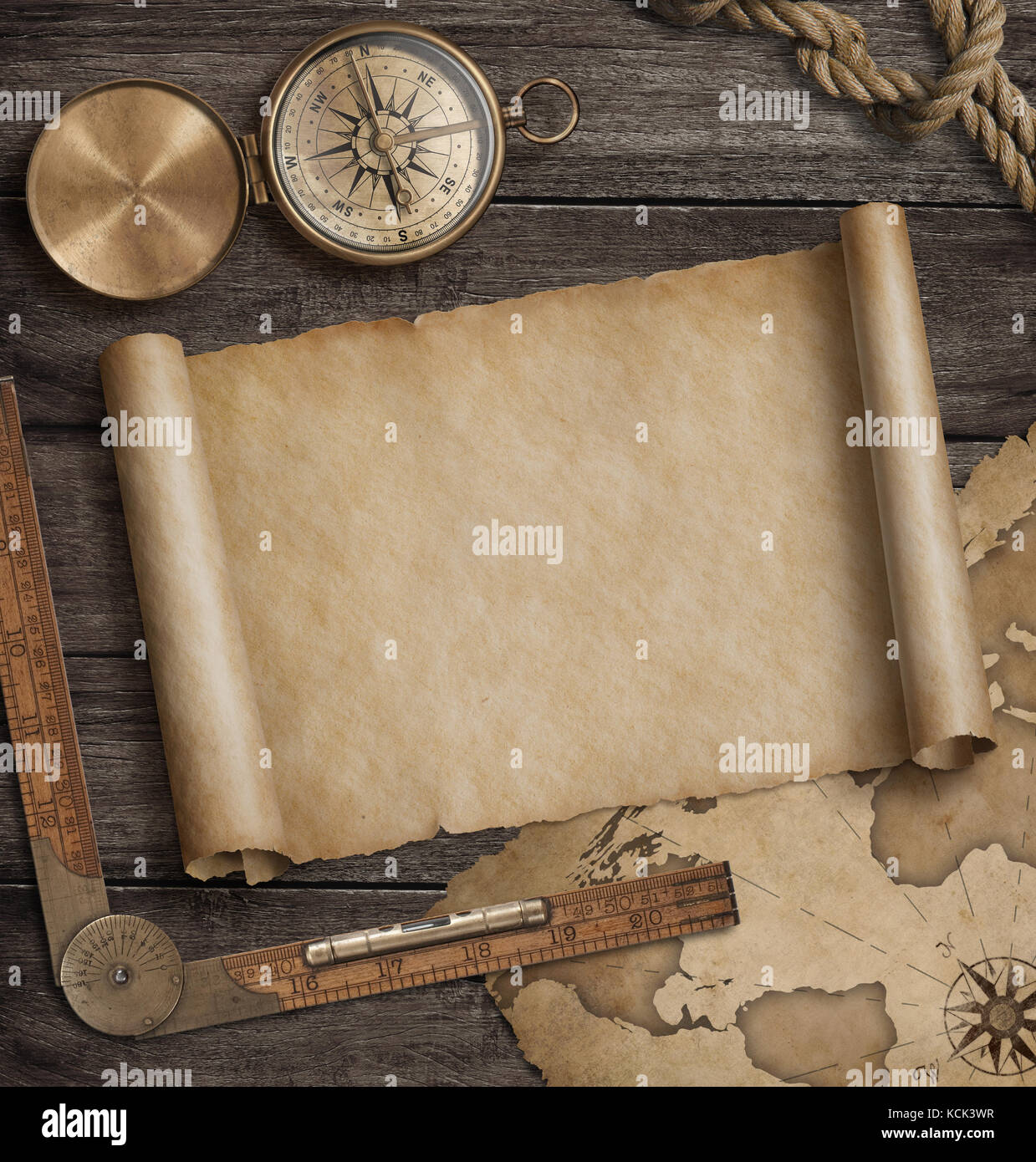 Antique Scroll Map: Scroll Vintage World Map Stock Photos & Scroll Vintage