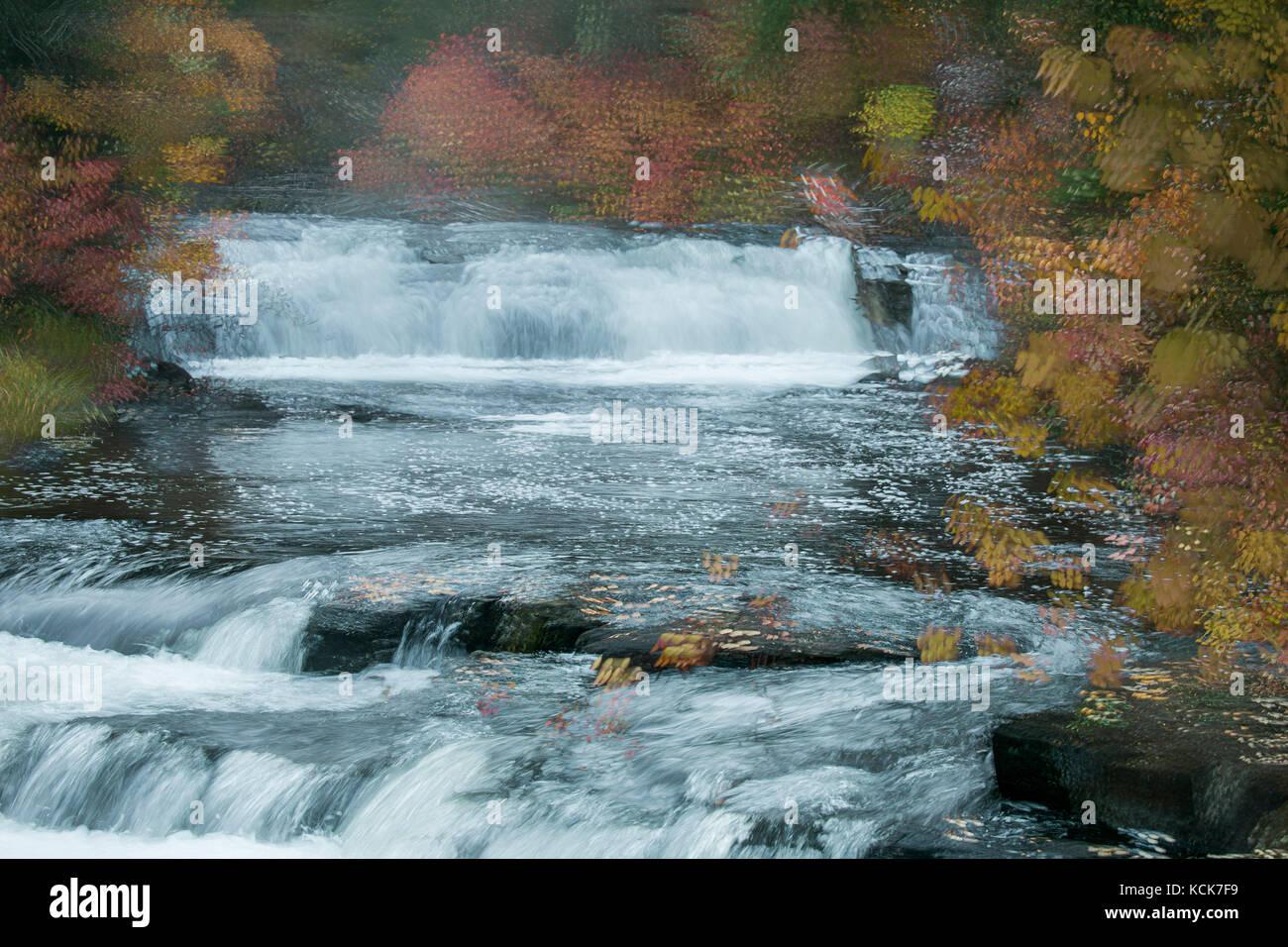 Canada, British Columbia, Centennial Park, 100 Mile House, Cariboo, Bridge Creek Falls, abstract landscape, autumn, - Stock Image