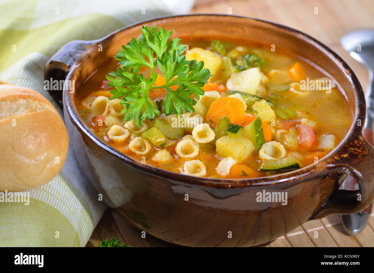 Fresh vegetable soup with noodles - Italian minestrone - Stock Image