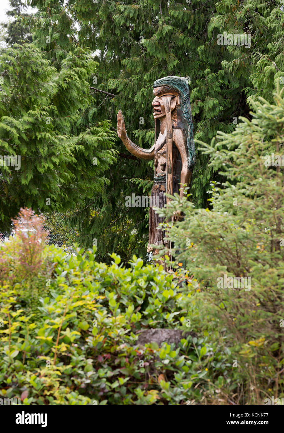 Iconic carving Weeping Cedar Woman was carved by Godfrey Stephens to protest  logging in Clayoquot Sound and now - Stock Image