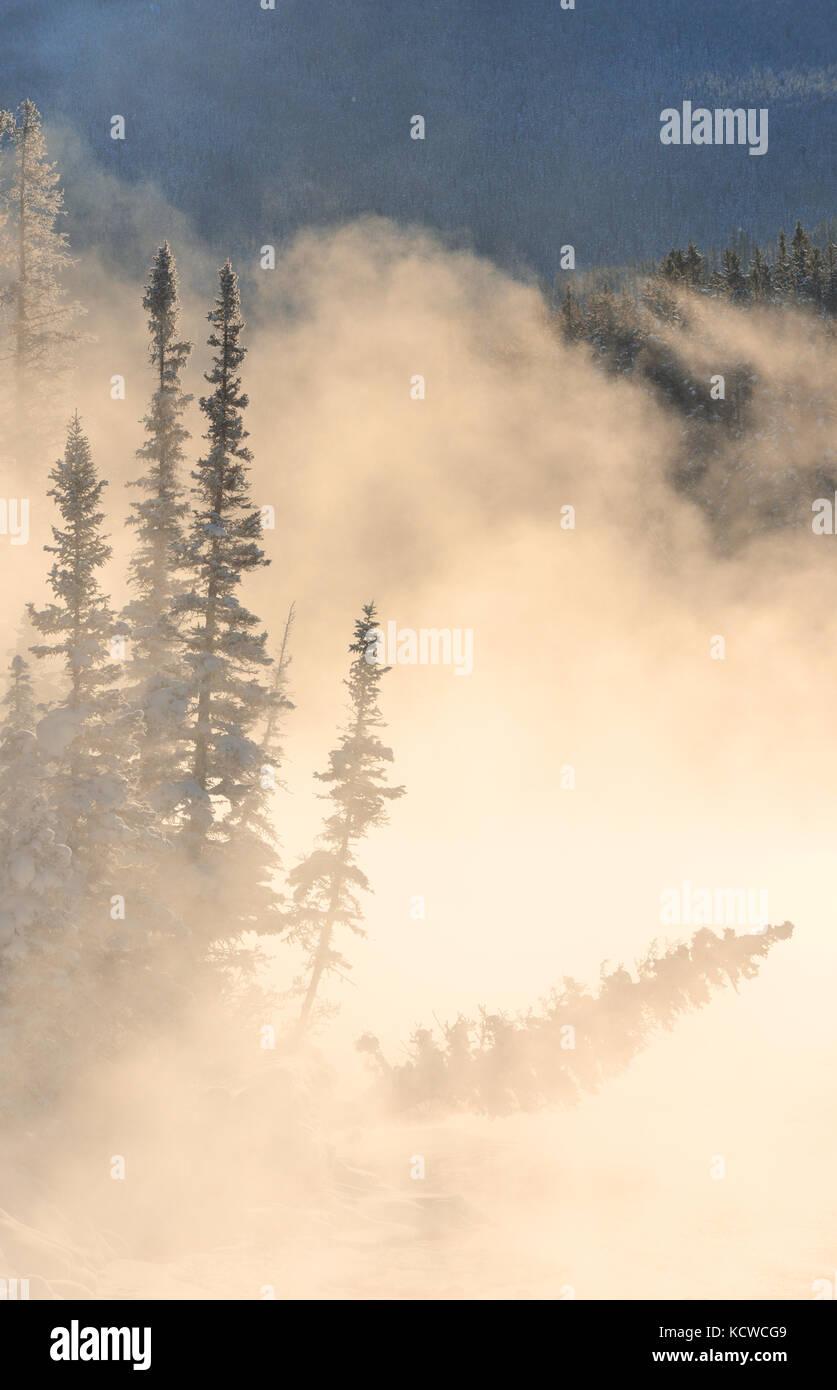 Fog rising over the Bow River st sunrise. Castle Junction, Banff National Park, Alberta, Canada - Stock Image