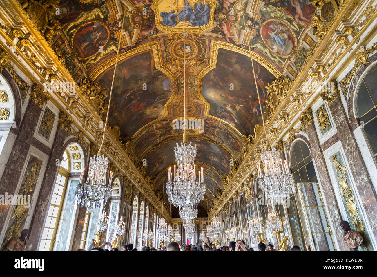 chateau de versailles hall of mirrors stock photos