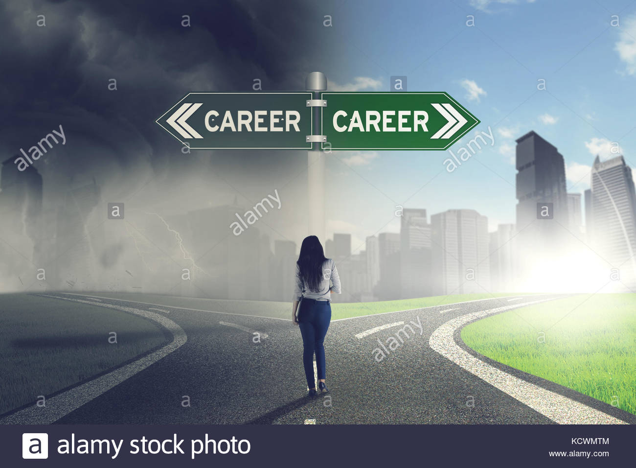 Back view of young businesswoman in doubt, having to choose between two different ways directing to her future career - Stock Image