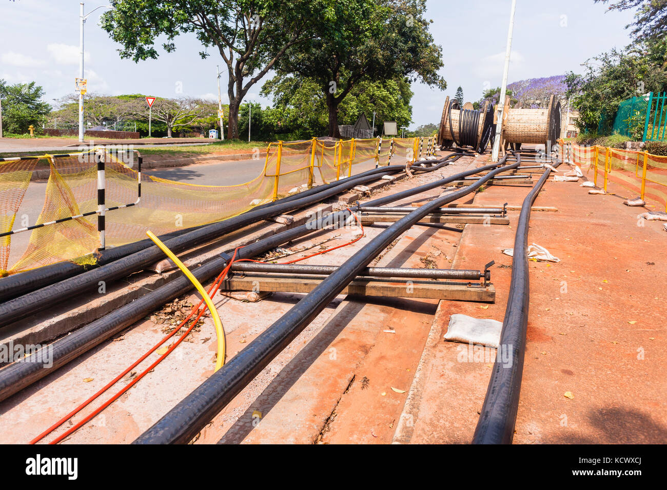 High Voltage Underground Cable Installation : Underground cables stock photos