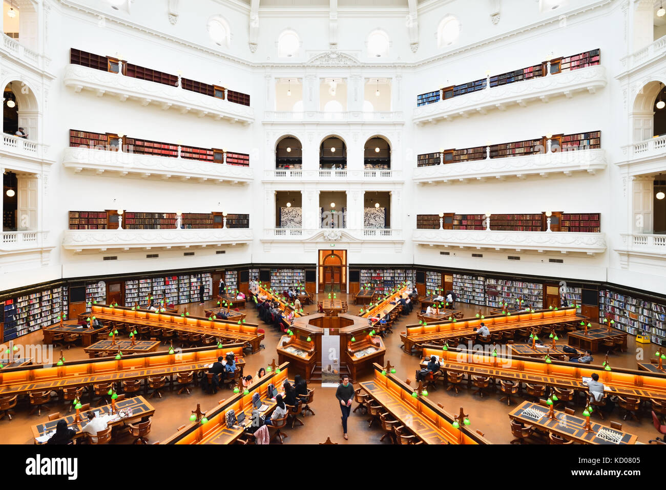 Australia Melbourne: In the State Library of Victoria, the La Trobe Reading Room. An impressive view with its many Stock Photo