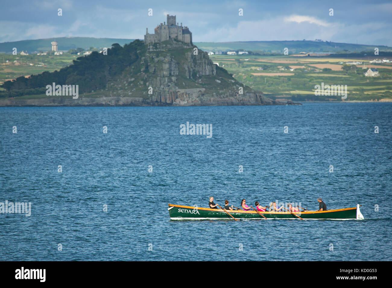 A Cornish pilot gig in Mounts bay,Penzance,England,UK - Stock Image