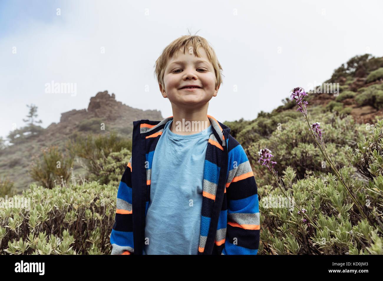 Portrait of cute boy at Mount Teide, Tenerife, Canary Islands - Stock Image