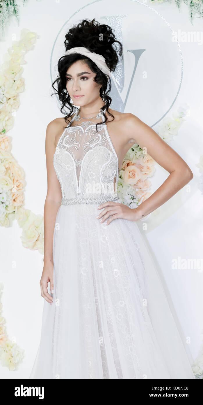New York, USA. 07th Oct, 2017.  A model walks runway for Julie Vino Havana 2018 Bridal Collection runway show at - Stock Image