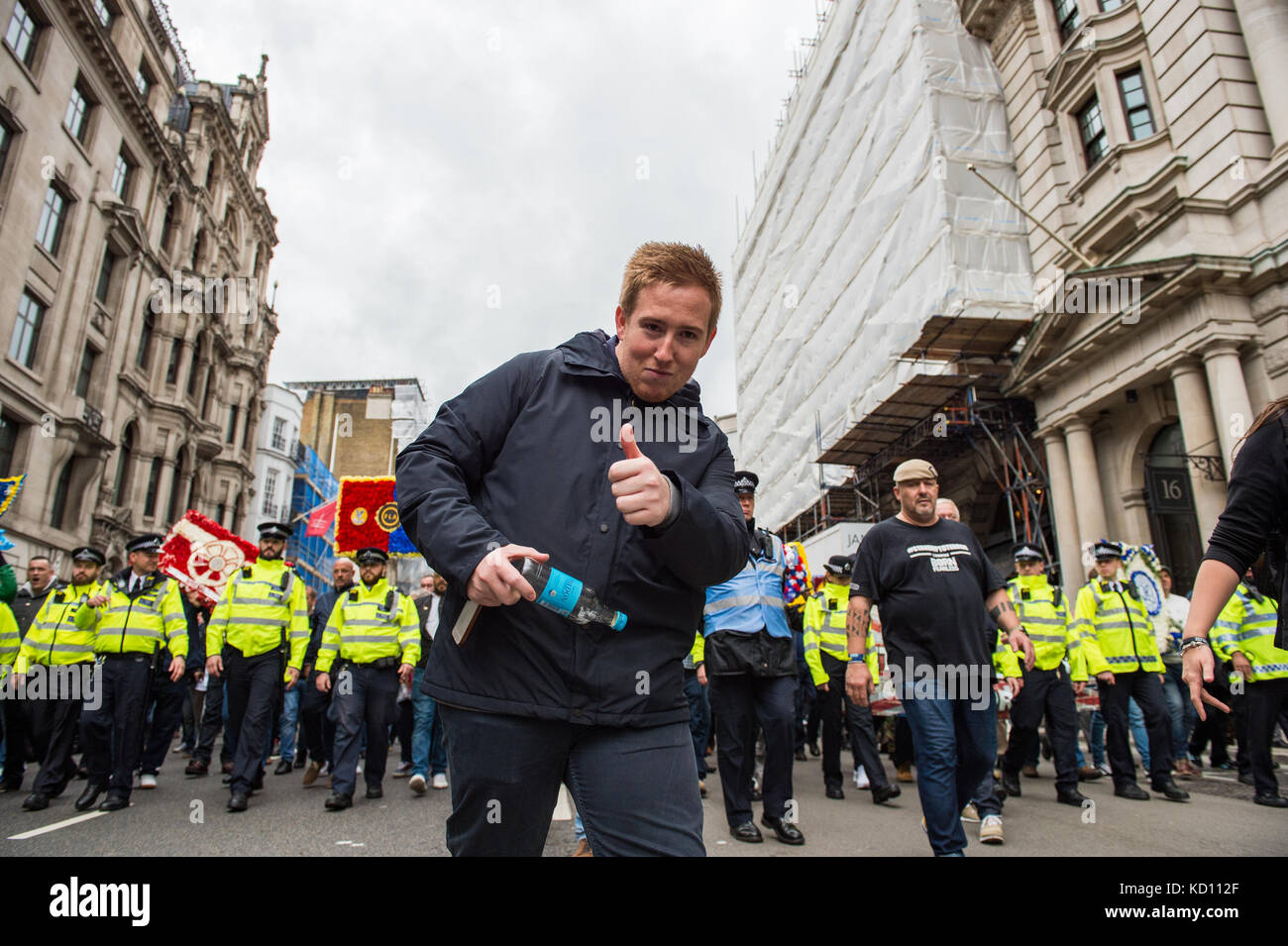 London, United Kingdom. 07th October 2017. Street movement group 'Football Lads Alliance' held a demonstration - Stock Image