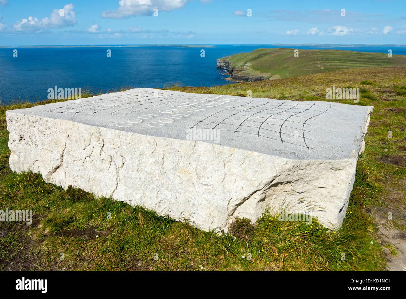 'Gods of the Earth, Gods of the Sea', a sculpture by Ian Hamilton Finlay. Saviskaill Bay, near Faraclett Head, Rousay, Stock Photo