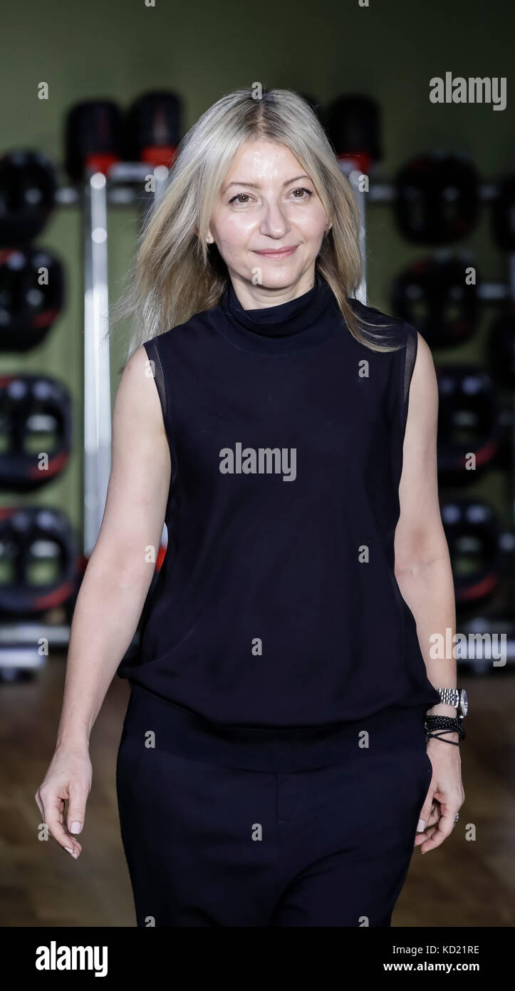 New York, NY, USA - October 6, 2017: Designer Rita Vinieris walks runway for RIVINI & Alyne Fall/Winter 2018 - Stock Image