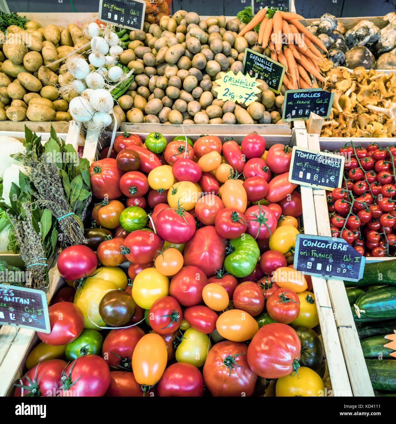 market, vegetables , Ile de Re, Nouvelle-Aquitaine, french westcoast, france, - Stock Image