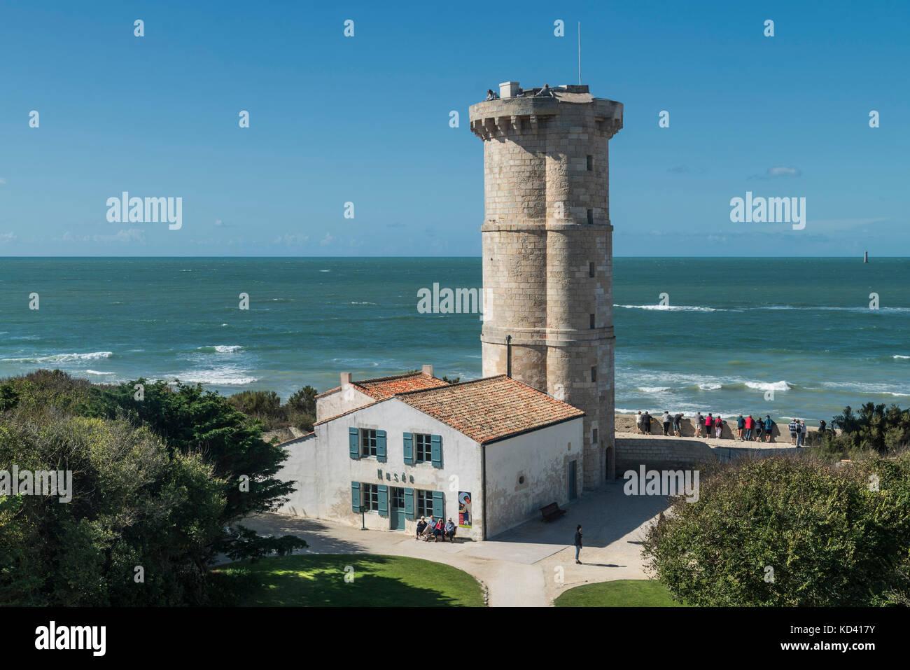 Phare des Baleines, lighthouse, Ile de Re, Nouvelle-Aquitaine, french westcoast, france, - Stock Image
