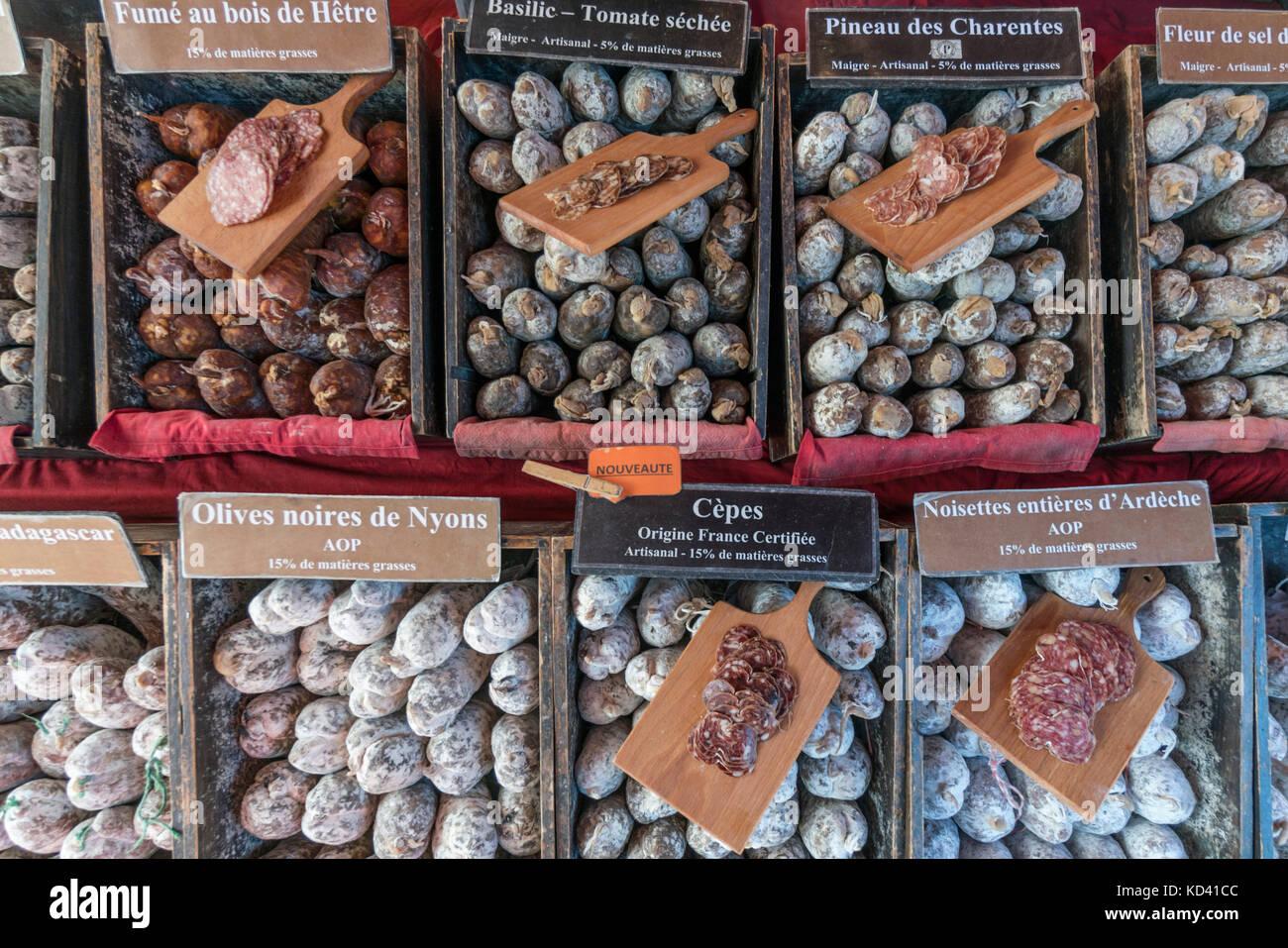 sausages,  market stall, La Flotte, Ile de Re, Nouvelle-Aquitaine, french westcoast, france, - Stock Image