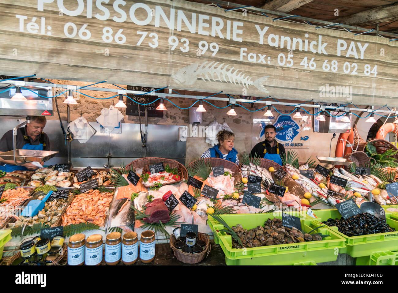 fish market, fruits de Mer, Ile de Re, Nouvelle-Aquitaine, french westcoast, france, - Stock Image