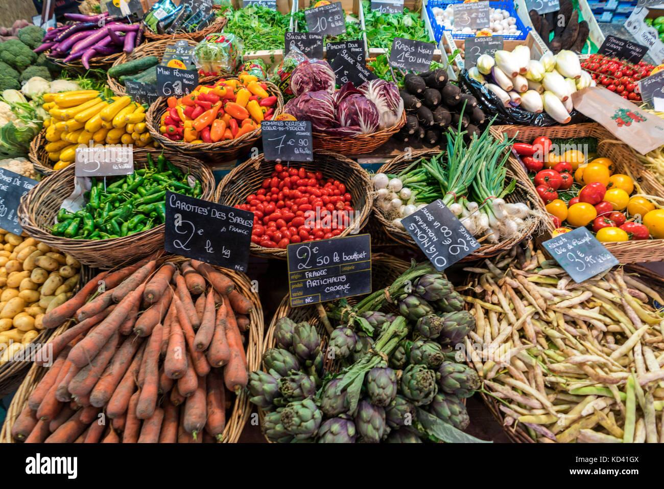 vegetables, Marche de Capucins, Bordeaux, France - Stock Image