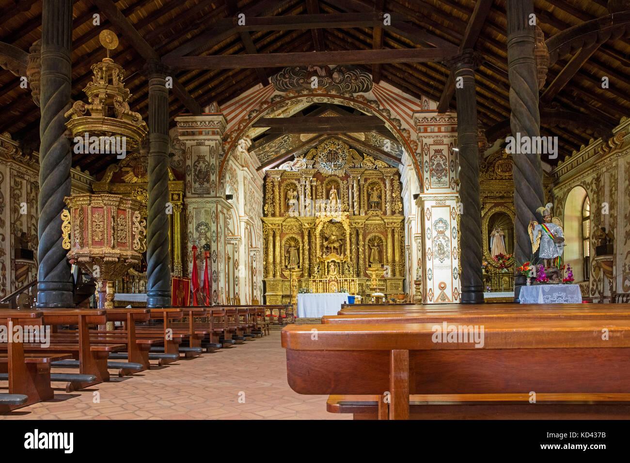 Interior of the Jesuit Mission church of San José de Chiquitos, Chiquitos Province, Santa Cruz, Bolivia - Stock Image