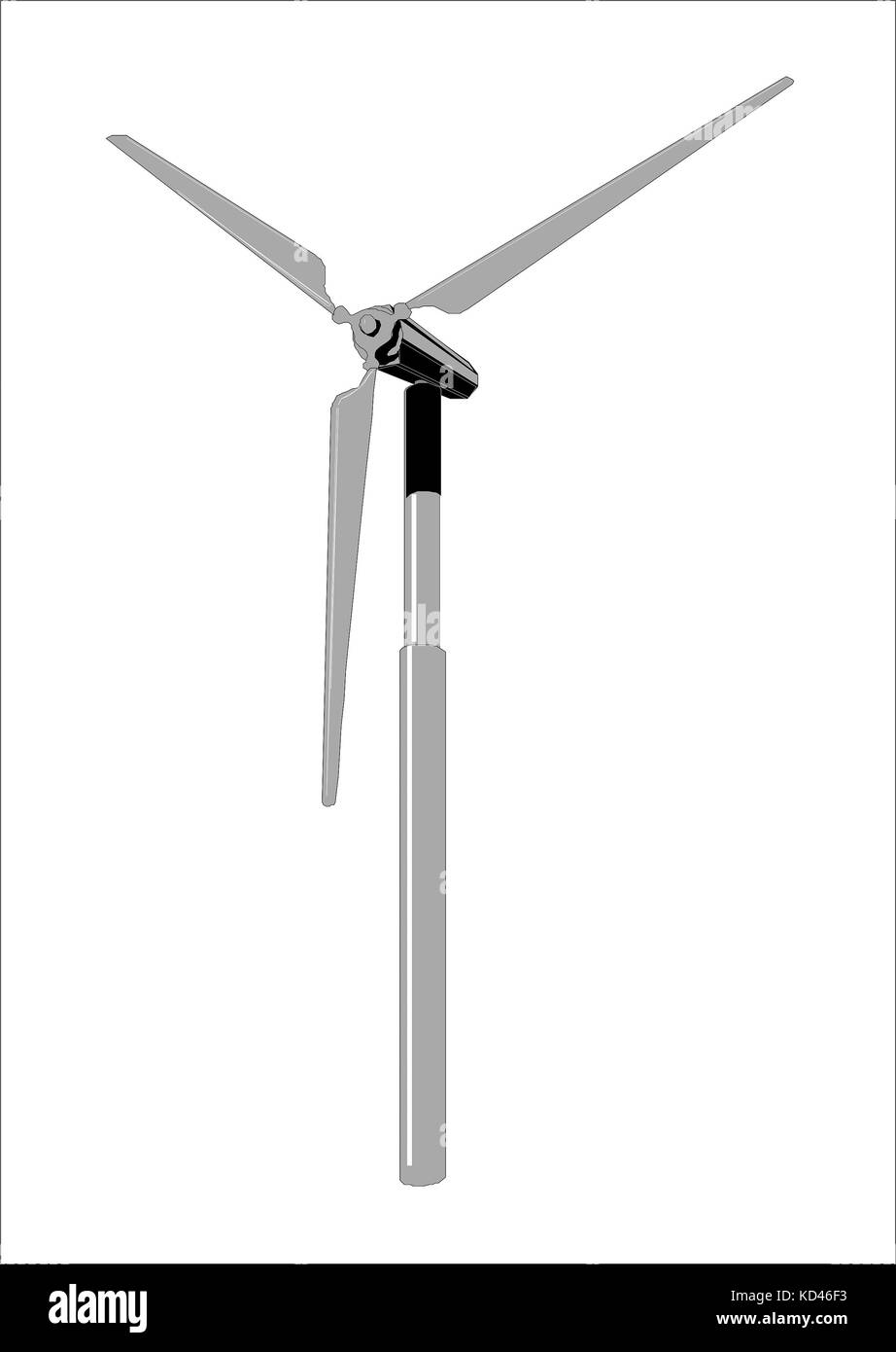 Wind power generators, clip art on the white backgrounde - Stock Image