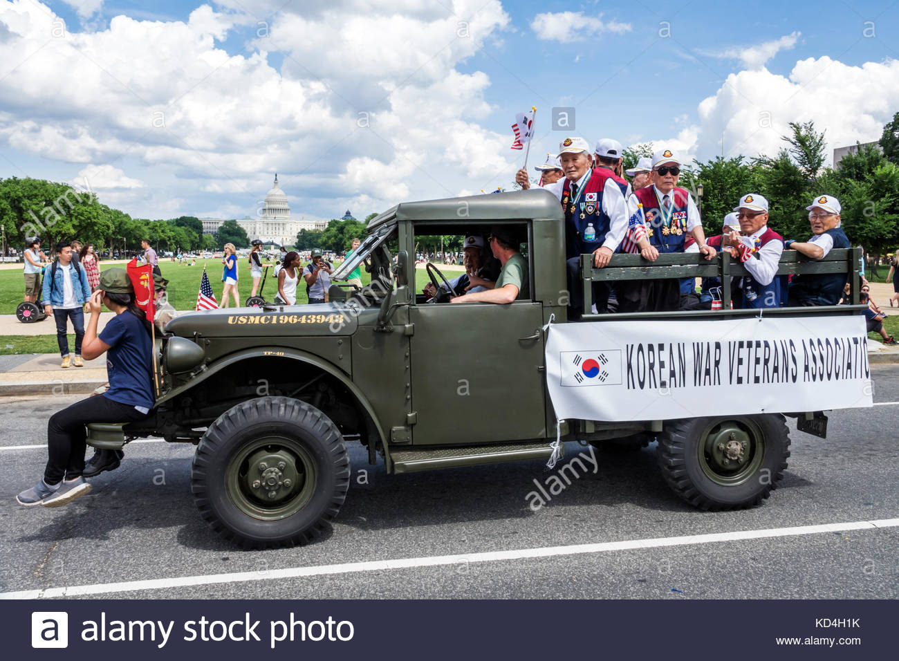 Washington DC District of Columbia National Memorial Day Parade staging area float Jeep Korean War Veterans Capitol - Stock Image